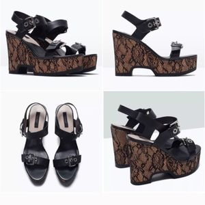 Zara Lace and Leather Wedge with Buckle